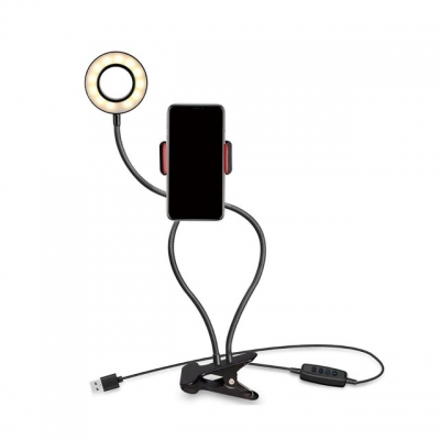Aro De Luz Led Con Doble Soporte Flexible De Mesa  + Control